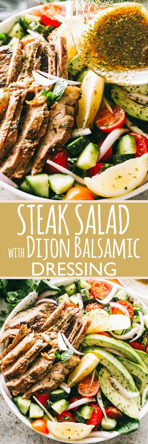 Steak Salad with Dijon Balsamic Dressing - Packed with protein, veggies, and a flavorful Dijon Balsamic Dressing, this Steak Salad is healthy, quick, and incredibly delicious! #steak #salad #steaksalad #protein #avocado #keto #healthyeating #healthyrecipes via @diethood