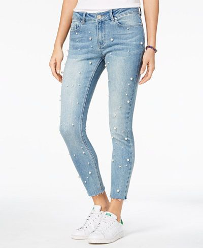Indigo Rein Juniors Ripped Raw-Edge Skinny Jeans
