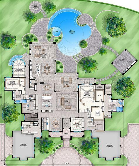 House Plan 207 00074 Luxury Plan 9 224 Square Feet 5 Bedrooms 6 5 Bathrooms Luxury Plan Hotel Floor Plan How To Plan