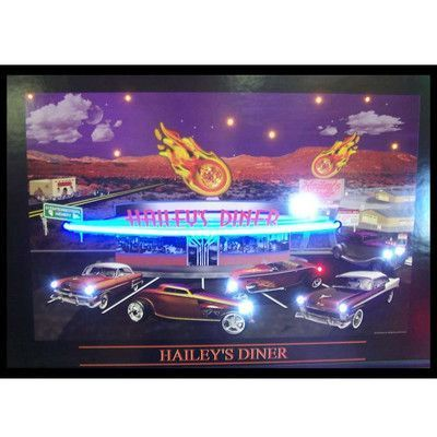 Neonetics Retro Haileys Diner Neon Led Framed Vintage Advertisement In 2020 Vintage Advertisement Picture Wall Art Pictures