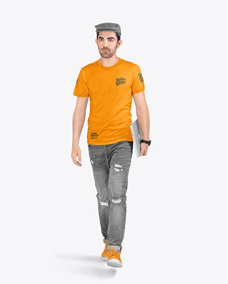 Download Men In Ringer T Shirt And Jeans In Apparel Mockups On Yellow Images Object Mockups In 2021 T Shirt And Jeans Clothing Mockup Shirts