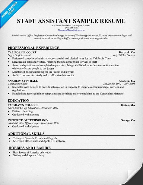 Staff Assistant Resume (resumecompanion) Resume Samples - hobbies resume examples