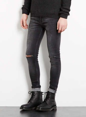 Charcoal Ripped Spray On Skinny Jeans | #ontrend | #rippedknees | #mensfashion |