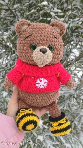 Crochet teddy bear with Christmas gift - Amigurumi Today ... | 512x288