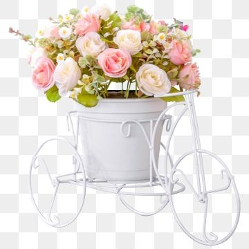 Bouquet On A Flower Pot On Modern White Bike Design Background Beautiful Beauty Png And Psd Rose Clipart White Flower Pot White Flower Bouquet