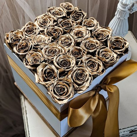 Box Of Gold Roses That Last For Yearsgold Bouquet Etsy Luxury Flowers Pop Art Print Rose