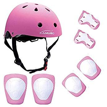 PINK Kids Cycling Roller Ski Skate Skating KNEE ELBOW WRIST Safety Gear Pads