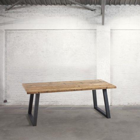 Tavolo Con Tavole Di Legno.Tavolo Con Piano In Tavole Di Legno Zampe Acciaio Tavoli E