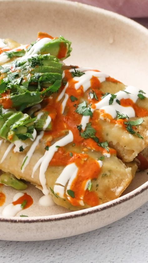 Roasted Poblano Vegan Enchiladas