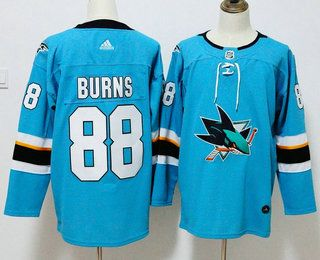 100% authentic 7e2b8 e6ac2 Men's San Jose Sharks #88 Brent Burns Teal Blue 2017-2018 ...