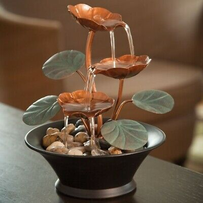 Indoor Desk Fountain Cascading Waterfall Relaxation Small Tabletop