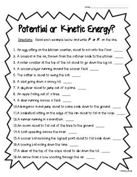 Potential or Kinetic Energy Worksheet - Physical Science ...
