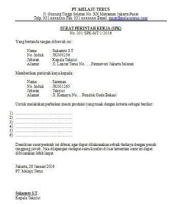 Contoh Surat Perintah Kerja Perusahaan Surat Kerja Pengusaha