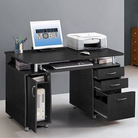 Multifunctional Wood Computer Desk With Storage Cabinet And Drawers Contemporary Design Storage Saver Perfect Desk Storage Office Furniture Online Home Desk
