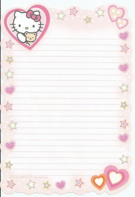Printable Lined Paper, Free Printable Stationery, Printable Scrapbook Paper, Collage Mural, Digital Paper Free, Digital Papers, Digital Scrapbooking, Hello Kitty My Melody, Cute Notes