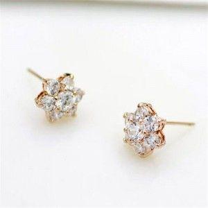Cubic Zirconia Delicate Flowers Design Womn Earrings 18k Rose Gold Plated Rose Gold Plates Earrings Rose Gold Earrings