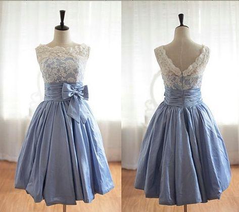 Elegant Scalloped-Edge Knee-Length Blue Homecoming Dress with White ... 6fb81ee6b
