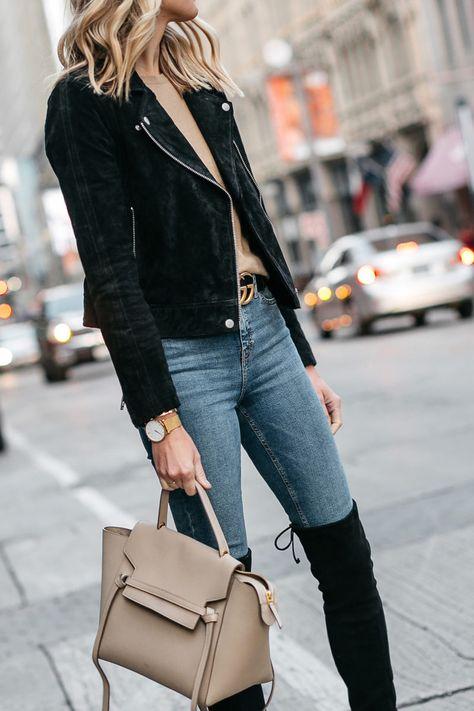 bbf03195508 Black Suede Moto Jacket Camel Sweater Denim Skinny Jeans Stuart Weitzman  Over-the-Knee boots Celine Mini Belt Bag Fashion Jackson Dallas Blogger  Fashion ...