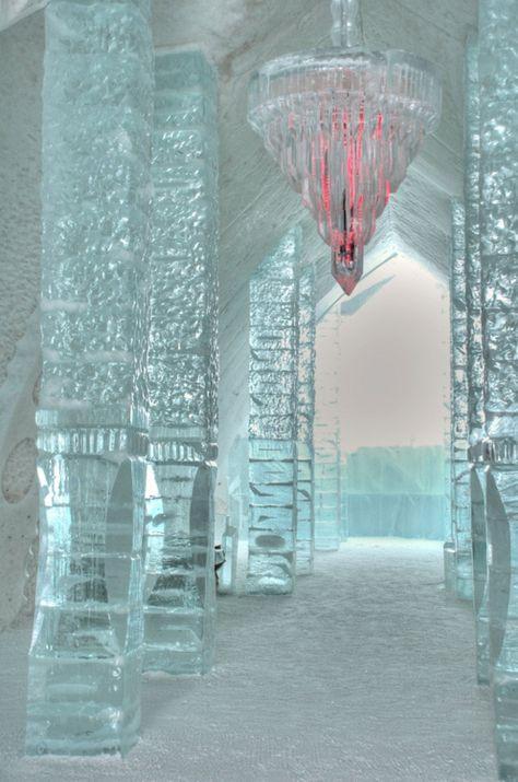 Ice Hotel in the village of Jukkasjarvi, Sweden.