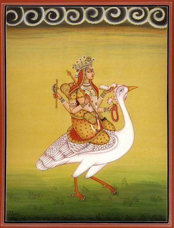 Goddess Saraswati on Her Mount Swan, Hindu Water Color Painting on PaperArtist:Kailash Raj