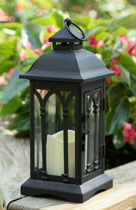 Battery Operated 12 Inch Black Metal Candle Lantern 6 Hour Timer Metal Candle Lanterns Candle Lanterns Outdoor Candle Lanterns