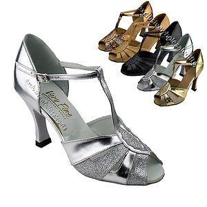 "3/""  Very fine 2702 Silver Black Salsa Ballroom Latin Leather Dance Shoes 2.5/"""
