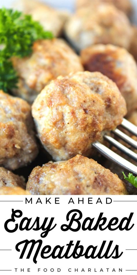 These easy baked meatballs are perfect for making ahead and freezing! This simple recipe is no-chop, homemade, and very easy to adapt. Skip the overpriced frozen ones at the store and enjoy meatballs anytime. Check out the recipe at The Food Charlatan!