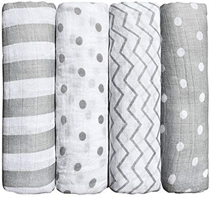 Mantas de Muselina de Bamb/ú Algod/ón,Muselinas Pack de 4,Mantitas para Bebes 120x120 cm