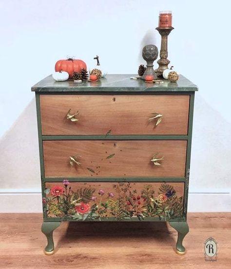 Bird hardware dresser handles floral