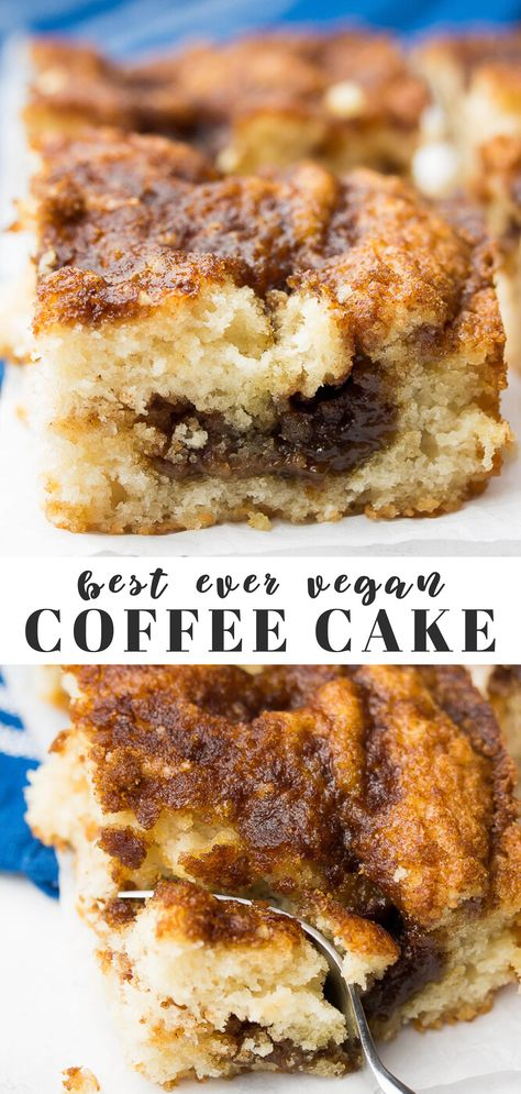 The best Vegan Coffee Cake recipe ever, and it's SO easy to make! Perfect for holiday celebrations or weekend breakfasts. The best Vegan Coffee Cake recipe ever, and it's SO easy to make! Perfect for holiday celebrations or weekend breakfasts. Vegan Treats, Vegan Foods, Vegan Dishes, Vegan Dessert Recipes, Vegan Breakfast Recipes, Whole Food Recipes, Best Vegan Cake Recipe, Vegan Breakfast Casserole, Vegan Baking Recipes