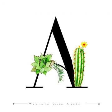 Alphabet Letter A With Watercolor Cactus And Leaves Background