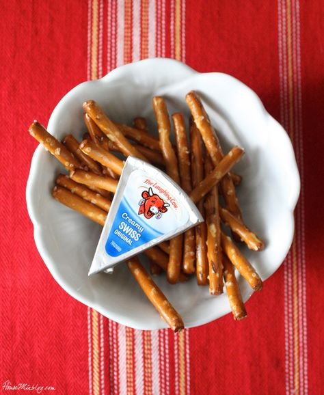 Healthy pregnancy snacks: pretzel sticks with Laughing Cow cheese