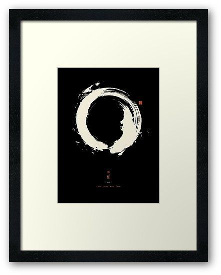Poster With White Japanese Enso Symbol On Black Background Enso Means Circle And The Symbol Is A Circul Circle Art Japanese Calligraphy Calligraphy Art Print