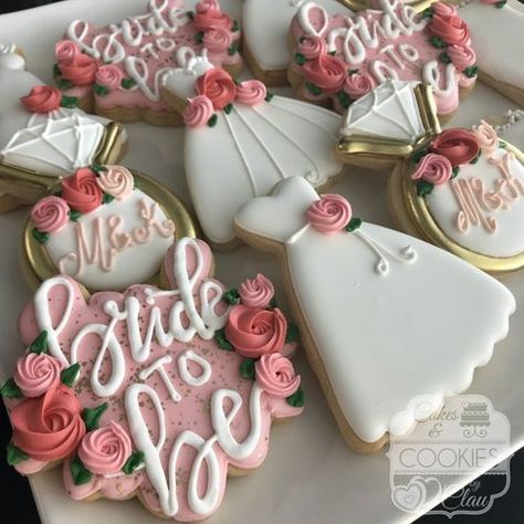 Find some good ideas for bridal shower cookies and wedding cookies to use for your wedding. Some good options for fall weddings, spring weddings and summer weddings! Elegant cookies as well as rustic cookie themes. Wedding and bridal shower cookies can be Wedding Shower Cookies, Bridal Shower Desserts, Bridal Shower Rustic, Bridal Shower Favors, Ideas For Bridal Shower, Wedding Dress Cookies, Bridal Shower Cupcakes, Simple Bridal Shower, Wedding Shower Recipes