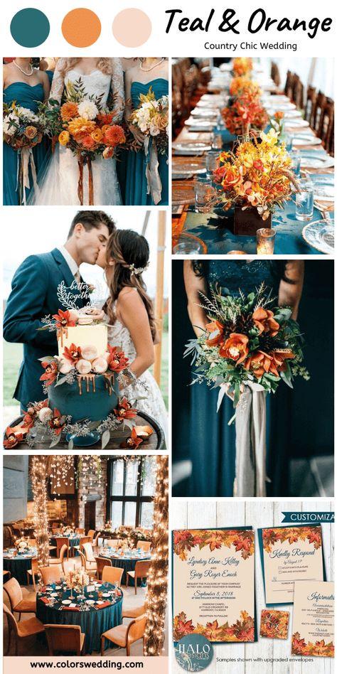 Teal and Orange Country Chic Wedding, Teal Bridesmaid Dresses Cute Wedding Ideas, Wedding Goals, Wedding Themes, Chic Wedding, Perfect Wedding, Our Wedding, Wedding Planning, Dream Wedding, Wedding Decorations