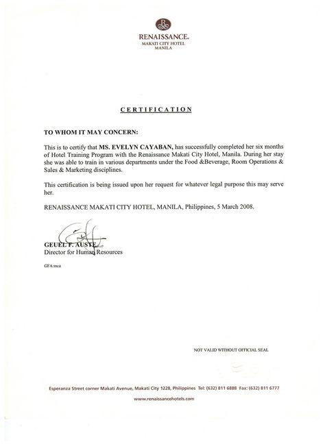 Recommendation letter from Renaissance Makati City Hotel Hotel - dismissal letter