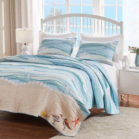 Global Trends Morro Bay Quilt Set With Shorebird Embroideries Walmart Com In 2020 Greenland Home Fashions Turquoise Bedding King Quilt Sets