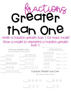 Fractions Greater Than One Expressing Whole Numbers As Fractions