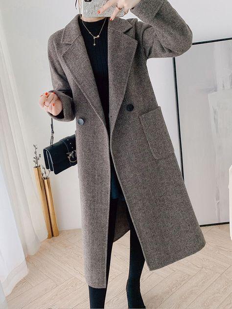 2020 Dark Gray Coat Elegant Korean Style OG0700