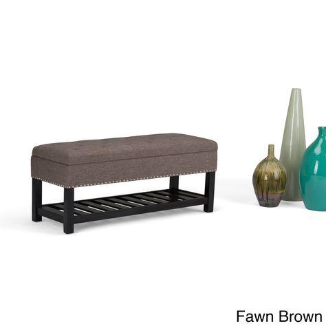 Astounding Wyndenhall Riley Storage Ottoman Bench Slate Grey Customarchery Wood Chair Design Ideas Customarcherynet
