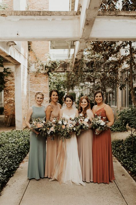 This Intimate Parish Atlanta Wedding Celebrates The Couple's Favorite City and Love of Travel (Junebug Weddings) Mismatched Bridesmaid Dresses, Bridesmaid Dress Colors, Wedding Bridesmaid Dresses, Wedding Attire, Boho Wedding, Fall Wedding, Dream Wedding, Bohemian Bridesmaid, Atlanta Wedding