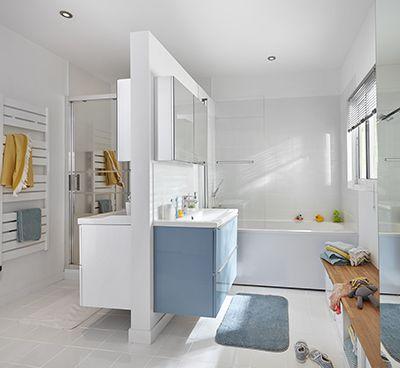 Meuble sous vasque à suspendre GoodHome Imandra bleu 80 cm + ...