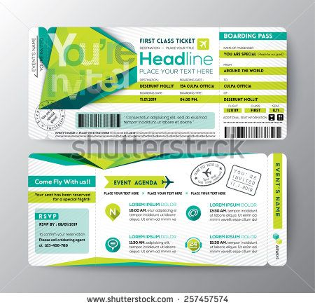 Modern design Boarding Pass Ticket Event Invitation card vector - event agenda
