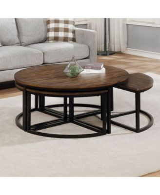 Alaterre Furniture Arcadia Wood 42 Round Coffee Table With Nesting Tables Brown Coffee Table Round Wood Coffee Table Alaterre Furniture