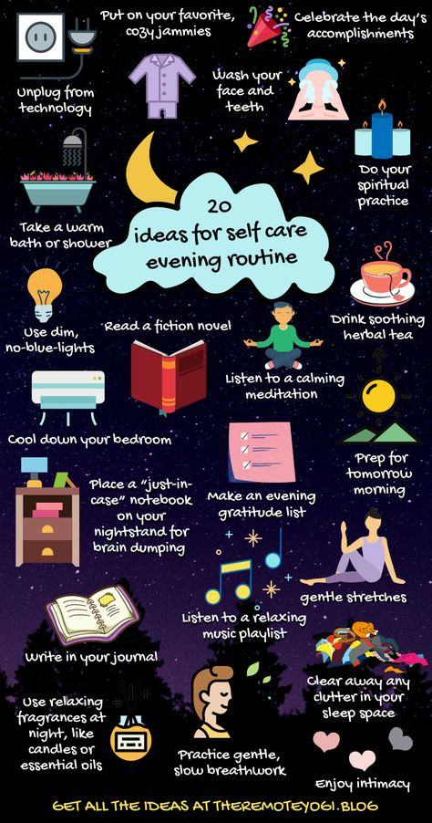 Click on the image to see the full list of 23 ideas for a self care evening routine to allow for a better nights sleep #selfcare #eveningroutine #sleep