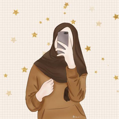 hijab phone wallpaper cute illustrated muslim phone background
