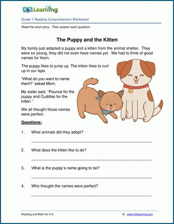 The Puppy And The Kitten Grade 1 Children S Story K5 Learning First Grade Reading Comprehension Reading Comprehension Worksheets Reading Comprehension
