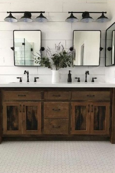 Searching for ways to create the perfect Modern Farmhouse? Or love the idea of mixing rustic and industrial decor? Look no further inspo and tips to help add value to your home at . Check out MODERN FARMHOUSE Must Have: Reclaimed Wood . for tons of dreamy Rustic House, Double Vanity Bathroom, Bathroom Decor, House Bathroom, Bathrooms Remodel, Rustic Bathroom Designs, Bathroom Makeover, Industrial Decor, Bathroom Design