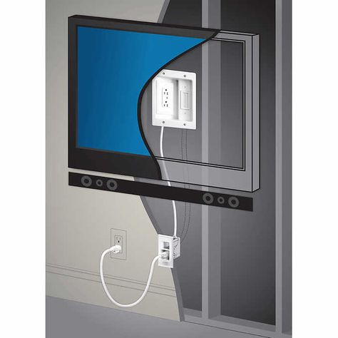 Legrand In Wall TV Power Kit from Best Buy hides your TV Cords and looks great! – Tammilee Tips Hiding Tv Cords On Wall, Hide Tv Cords, Hide Tv Cables, Hiding Wires Mounted Tv, Hide Wires On Wall, Hanging Tv On Wall, Wall Mounted Tv, Wall Tv, Mounting Tv On Wall