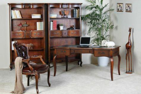 Schreibtisch vintage  Schreibtisch Vintage - Birke massiv - Antik-Look - braun lackiert ...